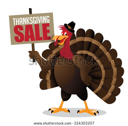 Cartoon Turkey Holding Thanksgiving Sale Sign Stock Vector