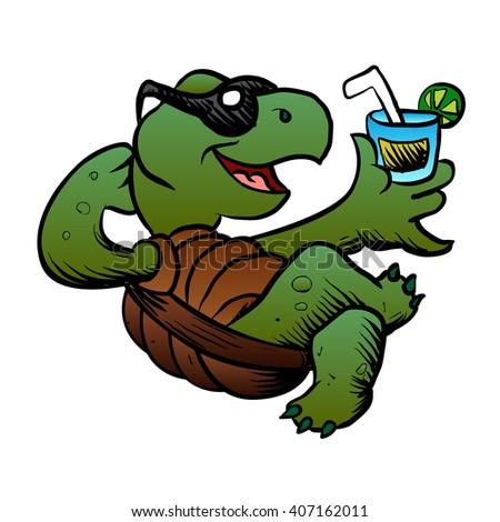 Cartoon Turtle Drinking Cocktail. - stock vector