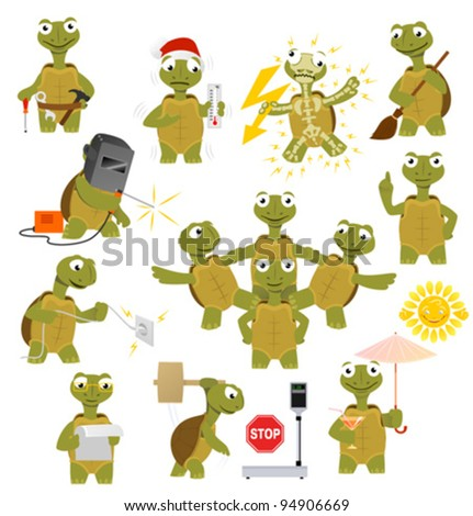 Cartoon turtle in various poses - stock vector