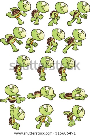 Cartoon turtle sprites ready for animation. Vector clip art illustration with simple gradients. Each element on a separate layer. - stock vector