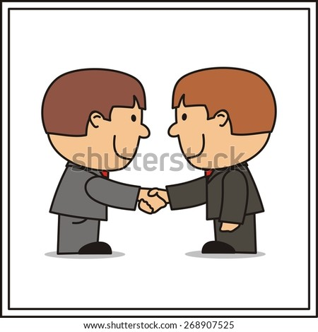 cartoon two businessman, handshake, funny managers - stock vector