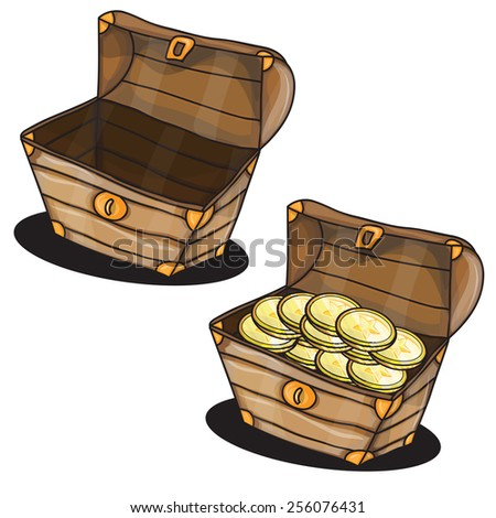 Cartoon two chests with coins isolated vector - stock vector
