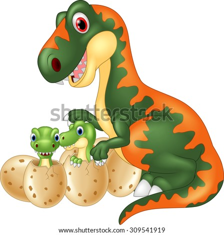 Cartoon tyrannosaurus with baby dinosaur - stock vector