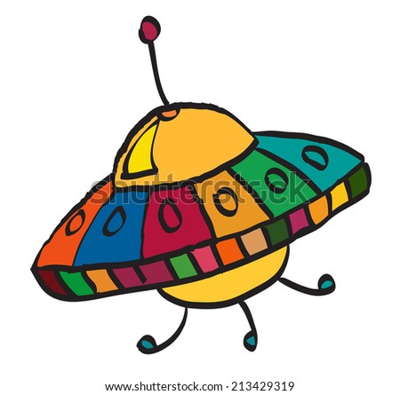 Cartoon UFO, illustration on white background - stock vector