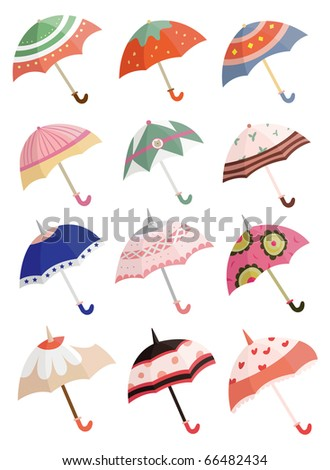 cartoon umbrella - stock vector