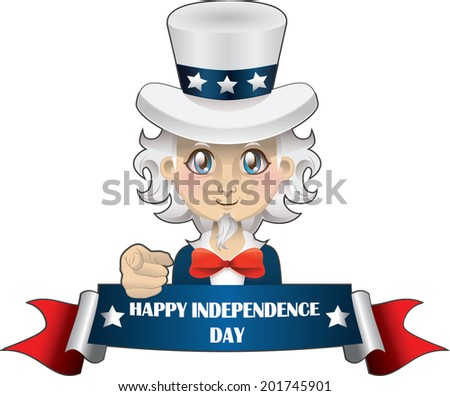 Cartoon Uncle Sam with banner - stock vector