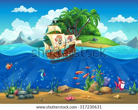 Cartoon underwater world with fish, plants, island and ship - stock vector