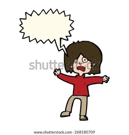 cartoon unhappy person with speech bubble - stock vector