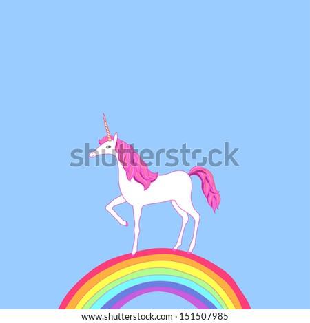 Cartoon unicorn on rainbow.  Cute illustration - stock vector