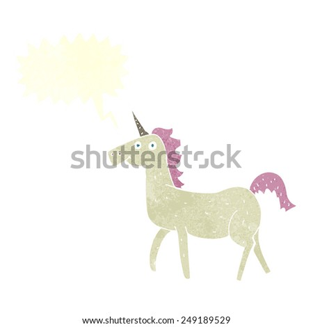 cartoon unicorn with speech bubble - stock vector