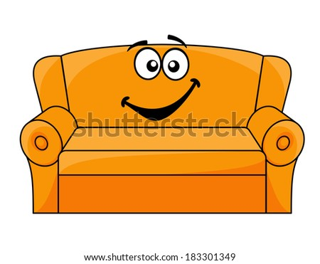 Cartoon upholstered orange couch, sofa or settee with a happy smile, vector illustration isolated on white - stock vector