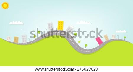cartoon urban landscape - stock vector