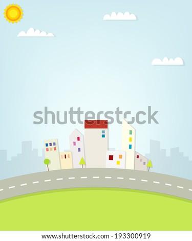 cartoon urban view - stock vector