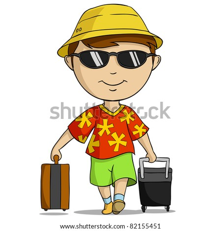 Cartoon vacation outfit man with bag. Vector illustration. - stock vector