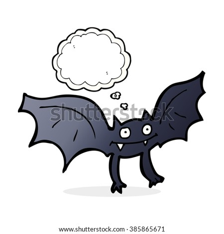 cartoon vampire bat with thought bubble