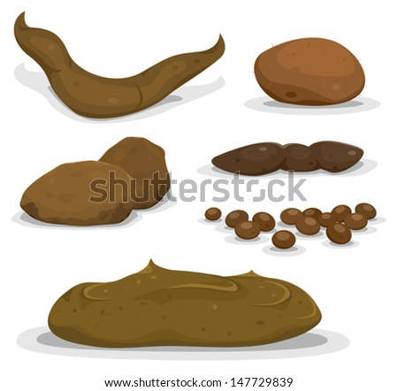 Cartoon Various Animals Dung Set/ Illustration of a set of various funny cartoon animals dung, shit, pooh, and dejection from cat, dog, cow, birds, rabbits or mammals - stock vector