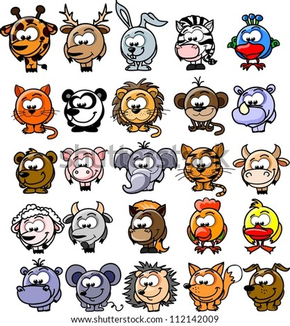 Cartoon vector animals - stock vector