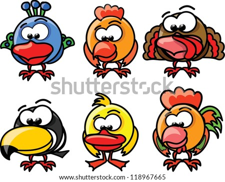 Cartoon vector birds - stock vector