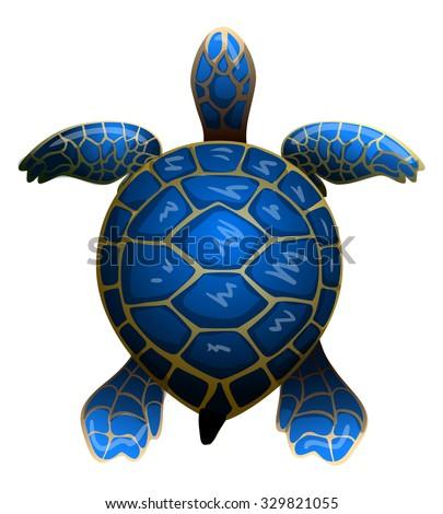cartoon vector blue sea turtle - stock vector