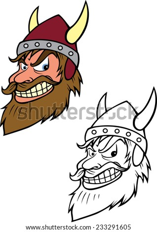 cartoon vector coloring book illustration of a Viking - stock vector