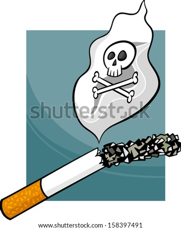 Cartoon Vector Concept Illustration about Harmfulness of Smoking Cigarettes