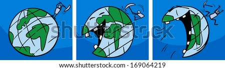 Cartoon Vector Concept Illustration of Ticklish Earth Planet Laughing Comic Story - stock vector