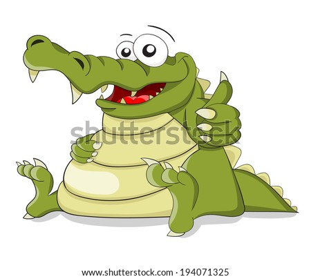 "Cartoon vector crocodile with fingers combination ""OK"""