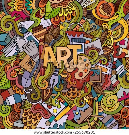 Cartoon vector doodles hand drawn art and craft background - stock vector