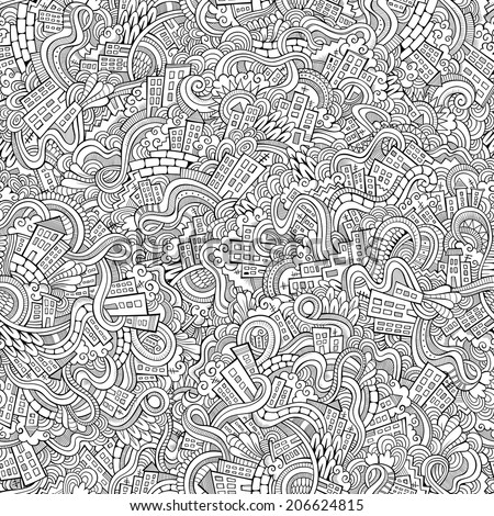 Cartoon vector doodles hand drawn town. seamless pattern - stock vector