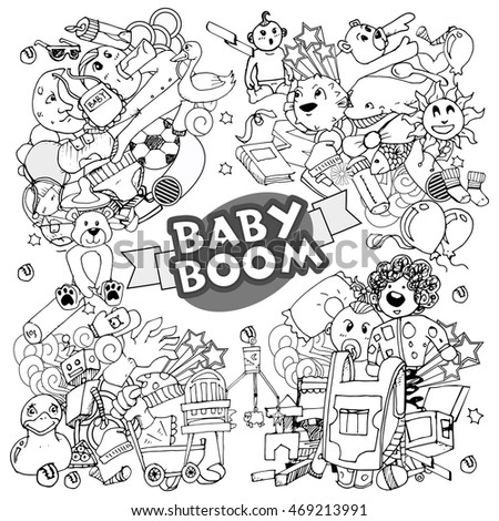 Cartoon vector doodles hand drawn vector baby symbols and objects.