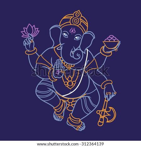 Cartoon vector elephant head God Ganesha. Invitation cards Dawali Holiday or Ganesh Chaturthi.  - stock vector