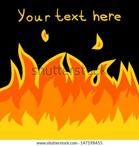 Cartoon vector fire card. The vector card of cartoon fire. - stock vector
