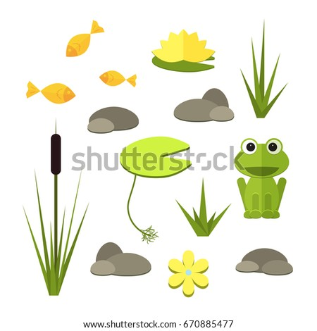 Cartoon Vector Garden Pond Elements With Water Plants And Animals Isolated Summer Life