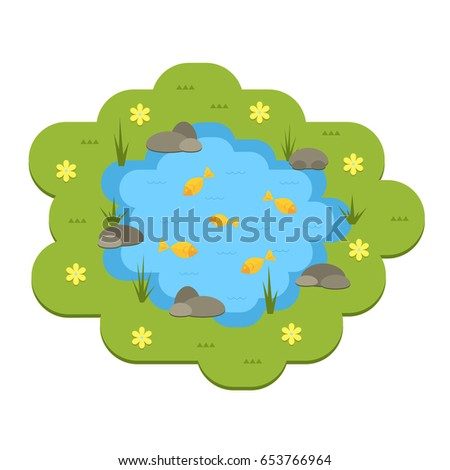 Cartoon Vector Garden Pond Illustration With Water Plants And Animals Isolated Summer Life
