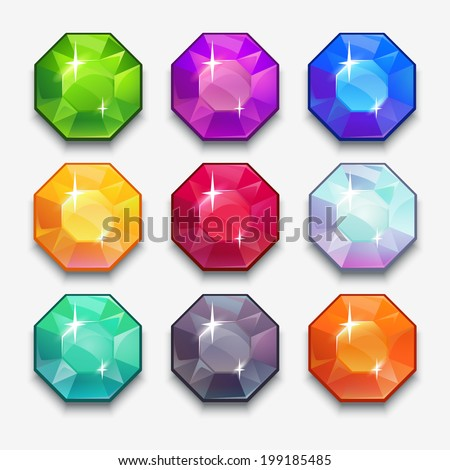 Cartoon vector gems and diamonds icons set in different colors on the white background. - stock vector
