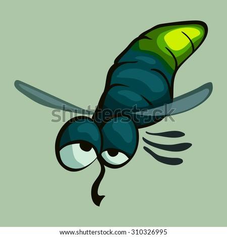 cartoon vector glowworm - stock vector