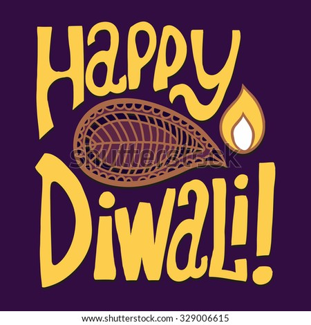 Cartoon vector greeting card. Happy Diwali. Hand drawn lettering.