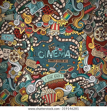 Cartoon vector hand-drawn Cinema Doodle frame. Colorful design background with movie objects and symbols border. - stock vector