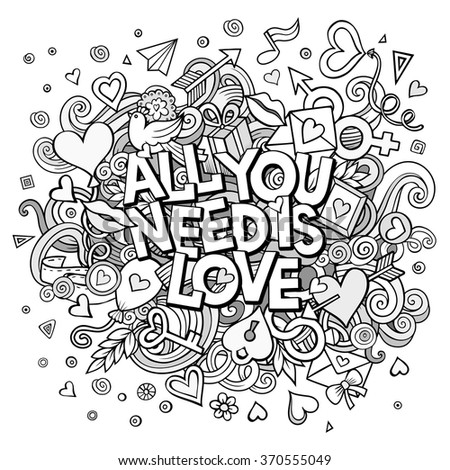 Cartoon vector hand drawn Doodle All You Need is Love illustration. Line art detailed design background with objects and symbols. All objects are separated - stock vector