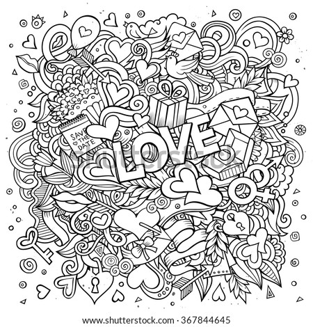Cartoon vector hand drawn Doodle Love illustration. Line art detailed design background with objects and symbols - stock vector