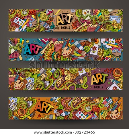 Cartoon vector hand-drawn Doodle on the subject of art and craft. Horizontal banners design templates set - stock vector