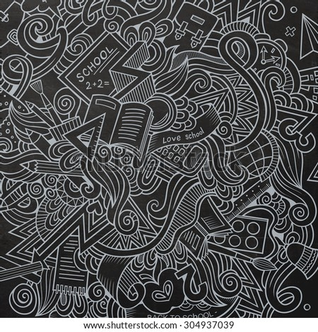 Cartoon vector hand-drawn Doodle on the subject of education. Chalkboard design background with school objects and symbols. - stock vector
