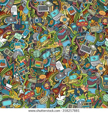 Cartoon vector hand-drawn Doodles on the subject of social media, internet, technical, computer, transport icons and symbols seamless pattern. Colorful background - stock vector