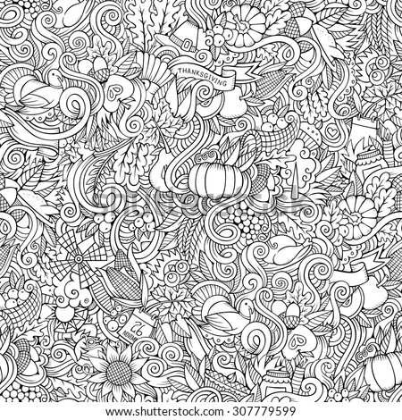 Cartoon vector hand-drawn Doodles on the subject of Thanksgiving autumn symbols, food and drinks seamless pattern - stock vector