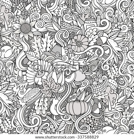 Cartoon vector hand-drawn Doodles on the subject of Thanksgiving autumn symbols, food and drinks seamless pattern. Sketch background - stock vector
