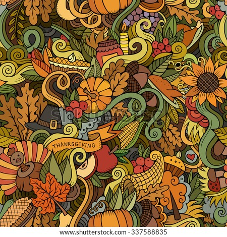 Cartoon vector hand-drawn Doodles on the subject of Thanksgiving autumn symbols, food and drinks seamless pattern. Color background - stock vector
