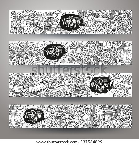 Cartoon vector hand-drawn sketchy Doodle on the subject of wedding. Horizontal banners design templates set - stock vector