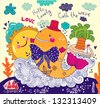 Cartoon vector illustration. Beautiful happy birthday greeting card with whale. - stock vector