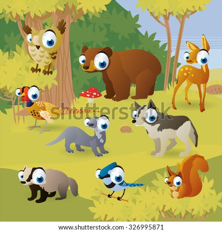 Cartoon vector illustration. Funny animals in the wood. Bear, owl, deer, pheasant, otter, wolf, squirrel, badger and jay