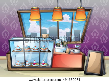 cartoon vector illustration interior cafe room with separated layers in 2d graphic
